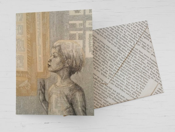 Literary gift card for bookworms, for avid readers, reading girl, book art collage, book voucher, book page envelope, for book lovers, books