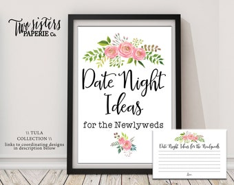 Date Night Ideas Bridal Shower Game - TULA Collection - Printable Bridal Shower Activity - Floral Watercolor Bridal Shower- Instant Download