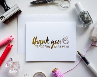 Thank You for Being There on Our Big Day Gold Foil Card