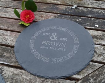 personalised slate cheese/chopping board, wedding,anniversary, fathers day, mothers day, wedding gift, wedding cheese board, mr and mr gift