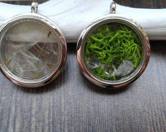 Fairytale floating Locket filled with natural materials, color, and content can be selected