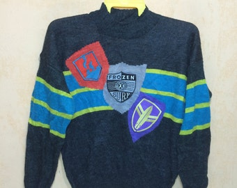 80s Rare Vintage OCEAN PACIFIC Frozen Surf Wool Knit Sweatshirt Neon Stripes Color With Patchs Adults XL Size Mint Condition