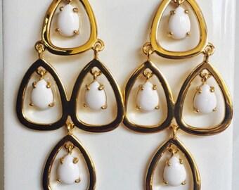 Water Drop Earrings, White Chandalier Earrings