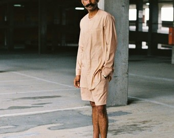 Summers17 collarless shirt (100% handwoven cotton)