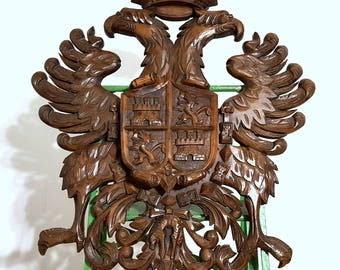CARVED WOOD PANEL Vintage French Large Eagle Crowned Coat of Arms Carving Salvaged Upcycled Furniture Wall Hanging Interior Decor Chateau