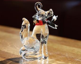 Vintage Hand Blown Glass Dog Ornament