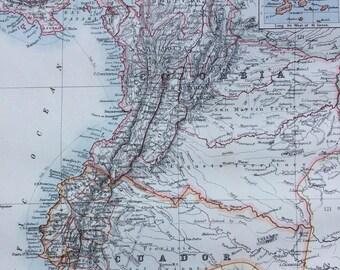 1899 COLOMBIA and ECUADOR Original Antique W & A.K Johnston map, Wall Decor - Home Decor - Gift Idea - South America