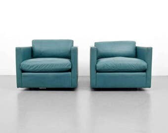 Pair of Charles Pfister Leather Lounge Chairs