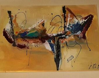 Abstract art XL image gold yellow black