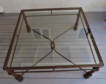 Vintage Wrought Iron And Glass Cocktail , Coffee Table,Beach Chic, Coastal  Decor Patio