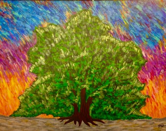 Colorful Tree Painting on Canvas
