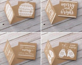 Screen Printed Christmas Cards - Pack of Four