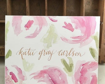 Custom watercolor peonies card - set of 10