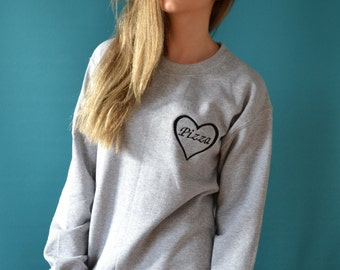 embroidered pizza heart sweater