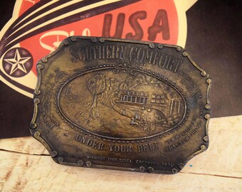 "Vintage SOUTHERN COMFORT Whiskey Brass Belt Buckle Large 3.75"" Western Cowboy Americana"