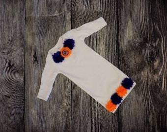 Infant gown, Baby Broncos sleep sack, Layette gown, newborn outfit, Denver Broncos outfit set, Going home outfit set, baby shower gift, sac