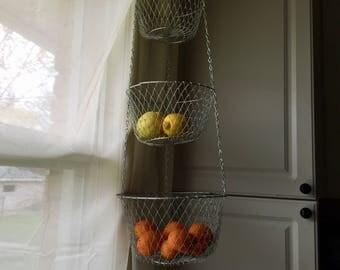 Vintage wire mesh hanging fruit basket, hanging kitchen basket, 3 tiered fruit basket