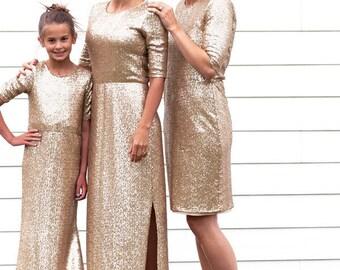 CUSTOM - Girl's Long Gold Sequin Dress
