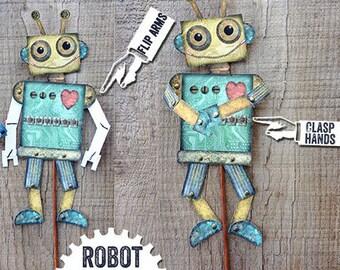 Articulated robot, digital robot printable, Paper robot puppet, robot pdf, Retro Robot Puppet, Robot Gift for him, Robots Robin Davis Studio