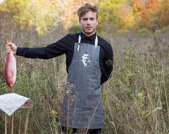 TABLEWEAR  cooking APRON unisex denim apron/ graphite color with 2 pockets. Mustache men illustration/ ajustable/ one fits all /Men gift