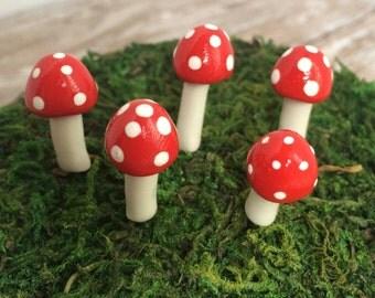 Fairy Garden Miniature Ball Mushrooms Red - succulent cactus dish terrarium garden