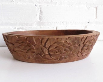 Primitive Solid Wood Handcarved Floral Bowl. Wooden bowl. Entryway Organizer. Vanity bowl.