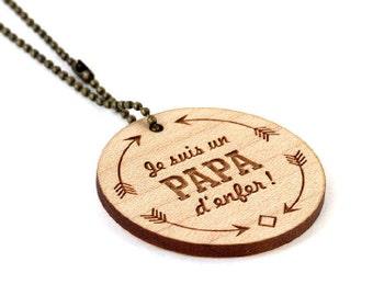 """Porte-clé """"Je suis un papa d'enfer"""" - bois d'érable gravé au laser - porte clé rond à message - accessoire graphique - cadeau - père - homme"""