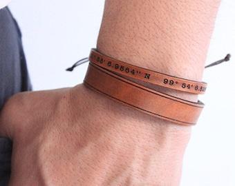 Men's leather bracelet-  -Personalized- Valentine's gift for men- Boho Leather Bracelet - Boho Bracelet - Leather Bracelet- Leather Cuff-