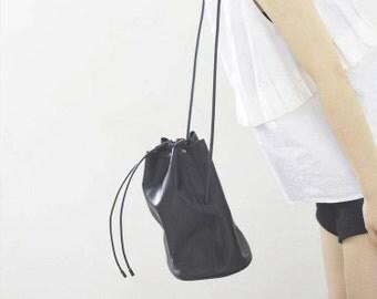 Black Leather Crossbody Bag, Shoulder Bags for Women, Black Bucket Bag, Leather Bucket Bag, Handmade Leather Bag, Cow Leather, Soft Leather