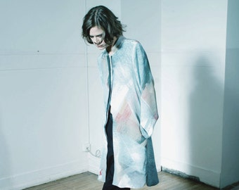 AMI digitally printed shirt dress in pure silk / free shipping