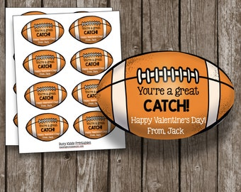 Valentine's Day Card - Football - Great Catch - Printable - Customized - Editable PDF - Class Party - Valentines