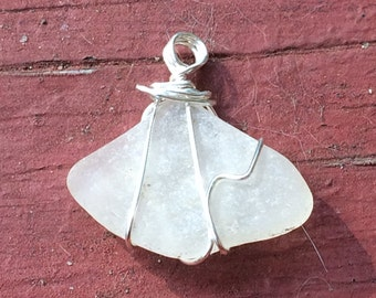 Foggy white Seaglass charm