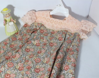 Toddler Elegant Pink Lace and Cotton Dress 3T / Baby Clothes Calico Peach Flower Print