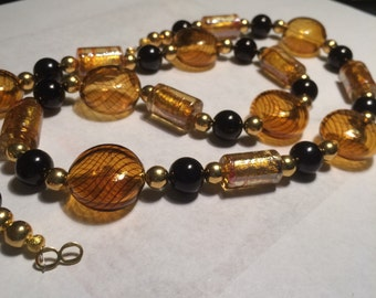 """Hand Blown Murano Bead Gold and Black 24"""" Necklace-Gorgeous!"""