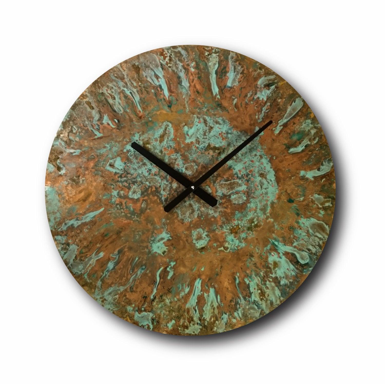 large patina copper clock wall clock home decor original. Black Bedroom Furniture Sets. Home Design Ideas