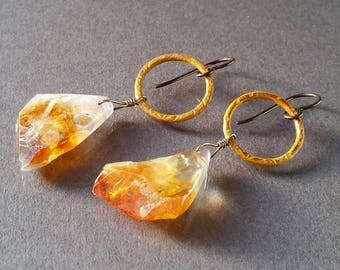 Yellow Quartz Crystal Hoop Earrings, Golden Gemstone, Rustic Natural Artisan Copper Metal Hoops, Hypoallergenic Niobium