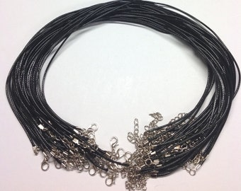 "18.7"" x 1.5mm Black Waxed Cord Necklaces With Lobster Clasp - For Jewellery Making"