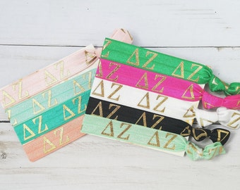 DELTA ZETA Letters Hair Tie Package | 9 Hair Ties