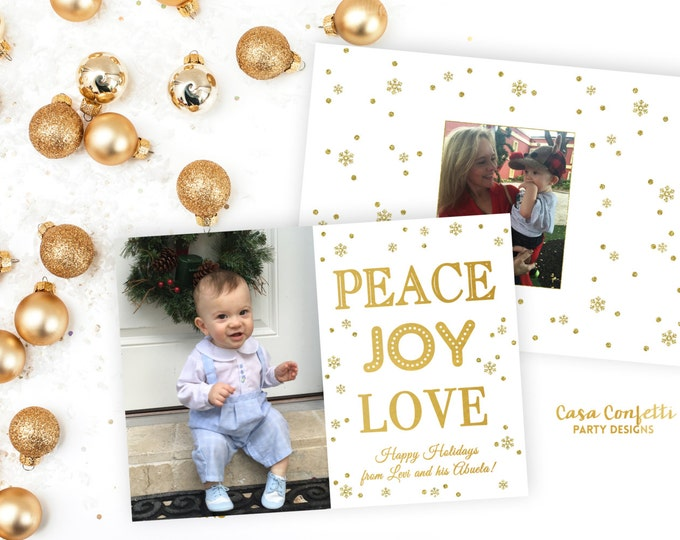 Peace Joy and Love Christmas Photo Card, Holiday Photo Card, Gold Christmas Photo Card, Snowflake Confetti Christmas Photo Card
