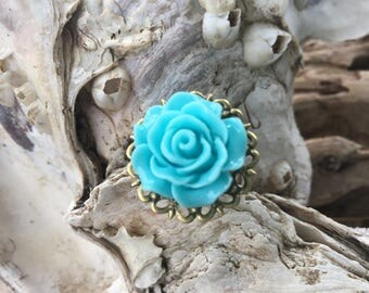 JEWELRY: Flower Filigree Ring / Rose Adjustable Brass filigree Ring/ Gift for Her. {A9-34#00163}