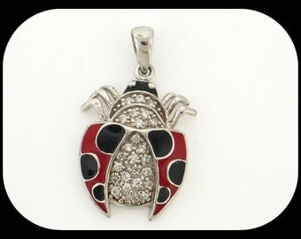 New Ladybug 925 sterling silver Enamel & CZ Cubic Zirconia PENDANT