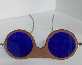 Extremely RARE Cesco Antique Welding Goggles-Cobalt Blue Glass