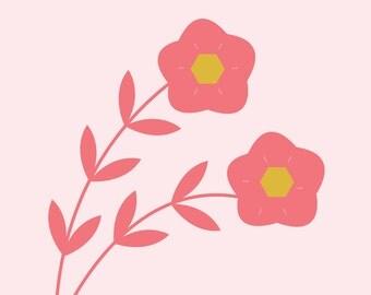 "Wall Art Print, ""Lean on Me"" Print, Floral Art, Floral Print, Modern Wall Art, Pastel Print"