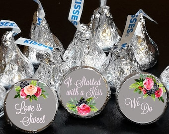 108 Hershey Kiss® Stickers - Wedding Shower Favors, Pink Roses Floral Chalkboard Background, Wedding Favors, Hershey® favors