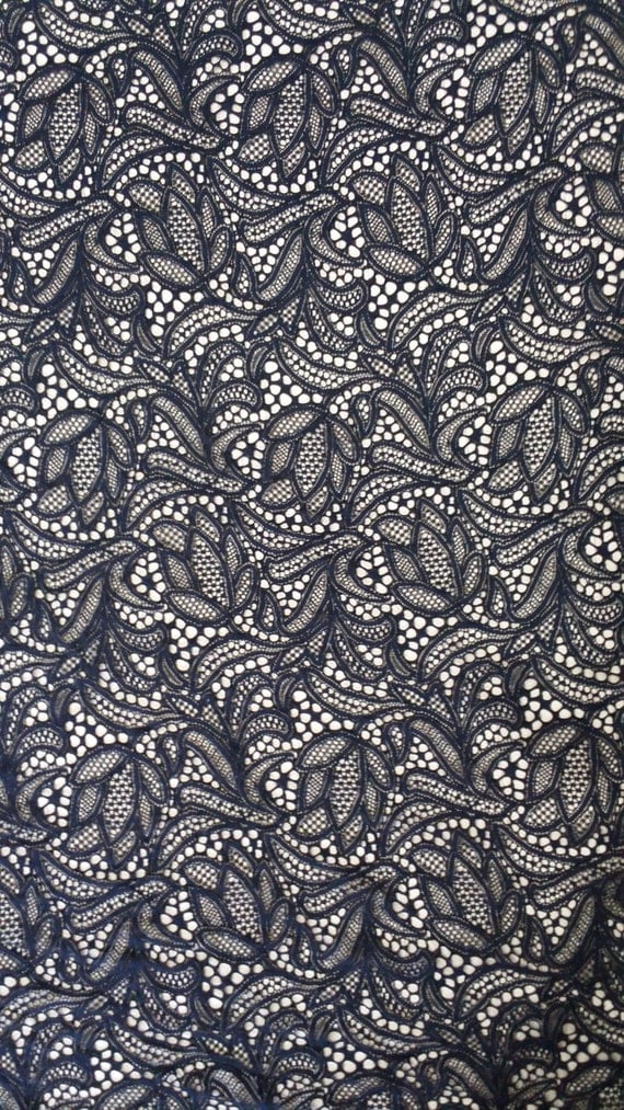 dark blue lace fabric, french lace, embroidery lace, Wedding lace, lace suite, veil lace, lingerie lace Chantilly Lace