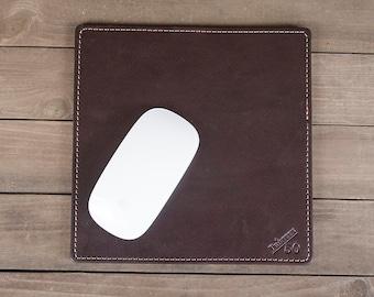 Dark Brown Full Grain Leather Mouse Pad