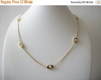 ON SALE Vintage Dainty Gold Faux Pearls 1950s Necklace 112316
