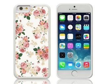 White Vintage Floral Pink Flowers Silicone Case for Apple iPhone 5, 5S, SE, 5C, 6 & 6 PLUS,  6S and 6S Plus, 7, 7 Plus, 8, 8+ iPhone X