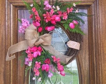 Summer Wreath, double door wreaths, summer front door wreath, baby shower for girls, housewarming gift for newlyweds, bridal shower hot pink