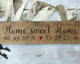 GPS coordinates gift, Coordinates wall art, Home sweet home sign, Housewarming gift, Wooden signs, Personalized wood signs